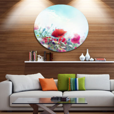 Design Art Red Poppies on Blue Background Floral Metal Circle Wall Art