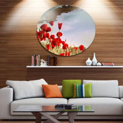 Design Art Flourishing Red Poppies Floral Metal Circle Wall Art