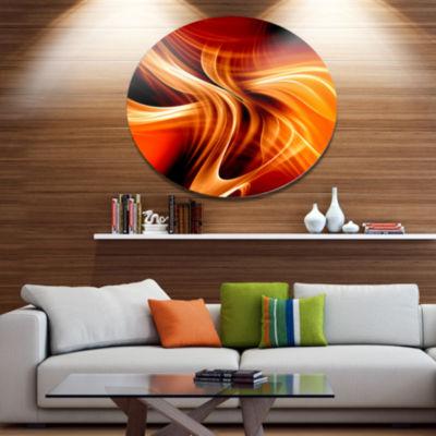 Design Art Orange Abstract Warm Fractal Design Abstract Metal Circle Wall Art