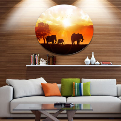 Design Art Elephants Walking At Sunset African Metal Circle Wall Art
