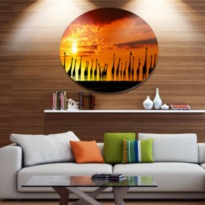 Design Art African Giraffes Sunset Silhouette African Metal Circle Wall Art