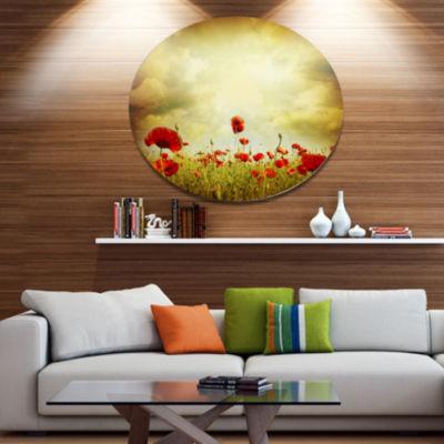 Design Art Red Poppies on Grunge Background FloralMetal Circle Wall Art