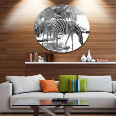 Design Art Herd of Zebra Black and White African Metal Circle Wall Art