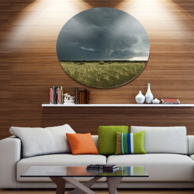 Design Art Rainy Cloud over Green Pasture Oversized Landscape Metal Circle Wall Art
