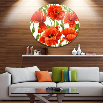Design Art Seamless Pattern of Red Poppies FloralMetal Circle Wall Art