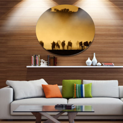 Design Art Blue Wildebeest in Dust African Metal Circle Wall Art