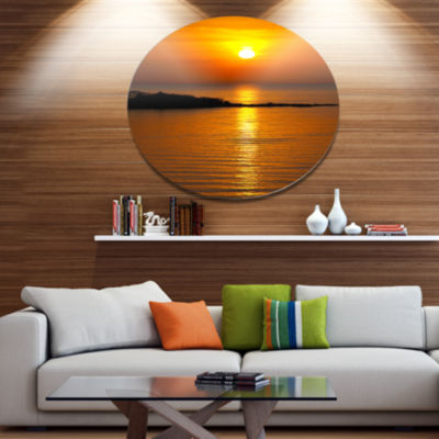Design Art Beautiful Sunrise Reflecting in River Large Seashore Metal Circle Wall Art
