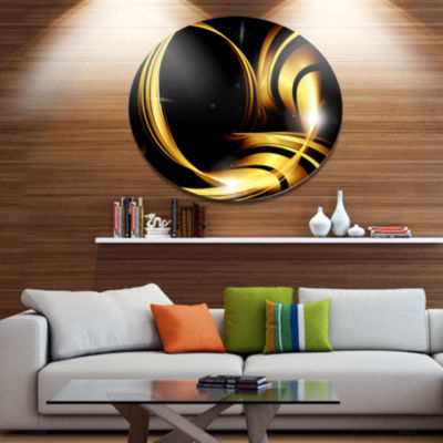 Design Art Golden Abstract Warm Fractal Design Large Abstract Metal Circle Wall Art