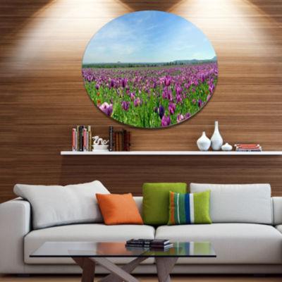 Design Art Purple Poppy Field Panorama Floral Metal Circle Wall Art