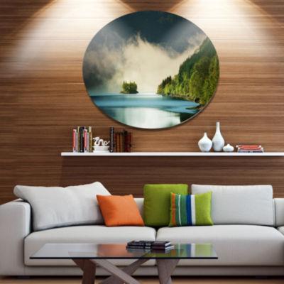 Design Art Beautiful Lake By Green Mountains ExtraLarge Landscape Metal Circle Wall Art