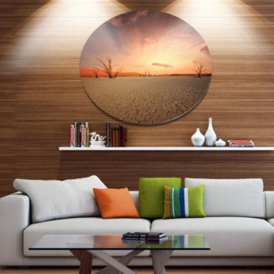 Design Art Namib Desert Beautiful Cracked Land African Landscape Metal Circle Wall Art