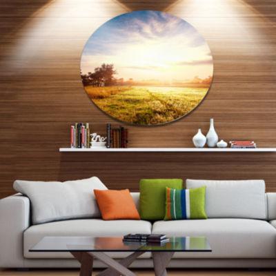 Design Art Beautiful Green Pasture on Sunrise Extra Large Landscape Metal Circle Wall Art
