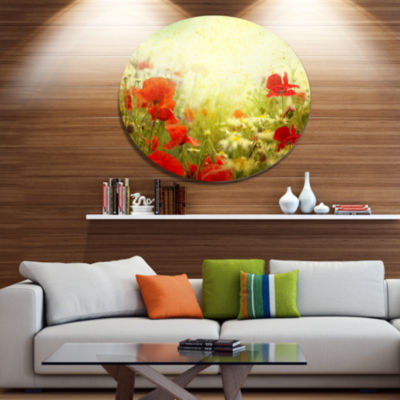 Design Art Grunge Background with Red Poppies Floral Metal Circle Wall Art