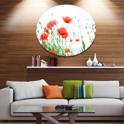 Design Art Poppy Flowers on White Background Floral Metal Circle Wall Art