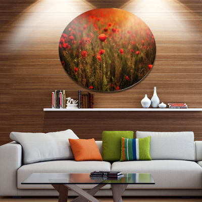 Design Art Dense Poppy Field At Sunset Floral Metal Circle Wall Art