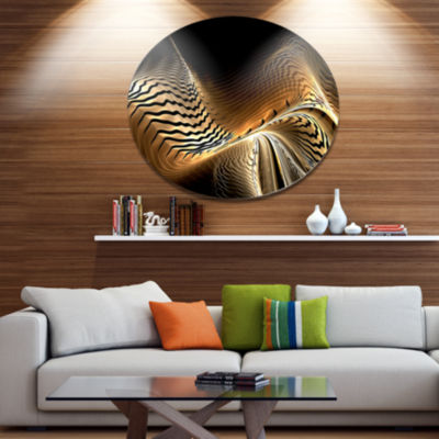 Design Art Brown Black Abstract Fractal Design Large Abstract Metal Circle Wall Art