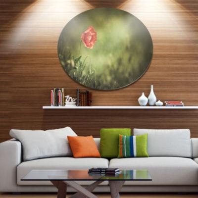 Design Art Red Wild Poppy Flower on Green Floral Metal Circle Wall Art