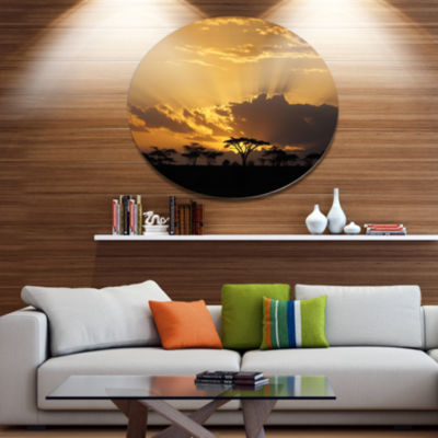 Design Art Sunset in Africa with Acacia Tree ExtraLarge Landscape Metal Circle Wall Art