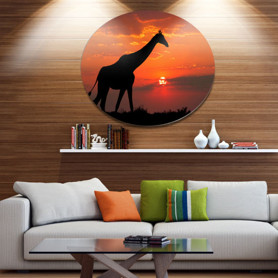 Design Art Giraffe Silhouette At Sunset African Metal Circle Wall Art