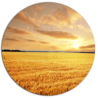 Design Art Large Field under Cloudy Sky Extra Large Landscape Metal Circle Wall Art