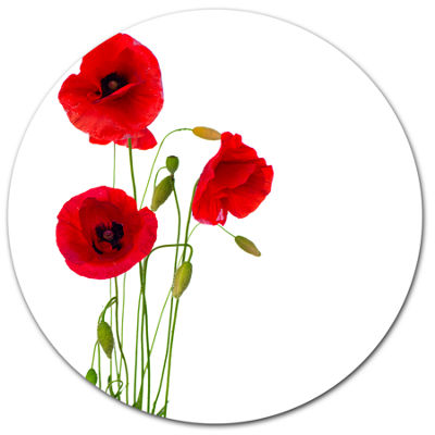 Design Art Isolated Red Poppy Flowers Floral MetalCircle Wall Art