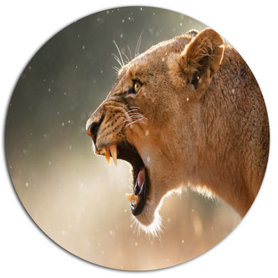 Design Art Lion Showing Dangerous Teeth African Metal Circle Wall Art