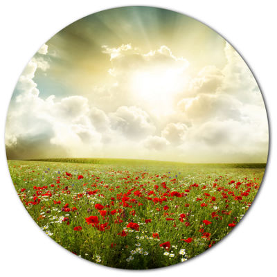 Design Art Dramatic Sky over Poppy Field Extra Large Landscape Metal Circle Wall Art