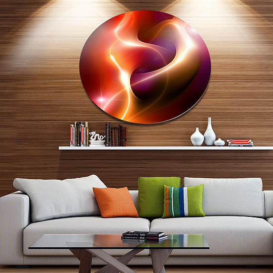 Design Art Abstract Warm Red Fractal Design LargeAbstract Metal Circle Wall Art