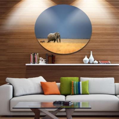 Design Art Elephant and Zebra Walking in Bush African Metal Circle Wall Art