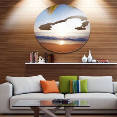 Design Art Deserted Beach with Palm Leaves Large Seashore Metal Circle Wall Art