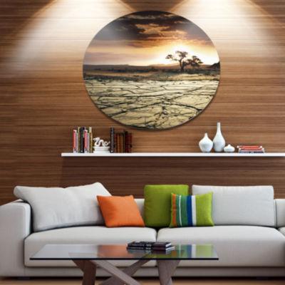 Design Art Desert Gopi Cracked Drought Land African Landscape Metal Circle Wall Art