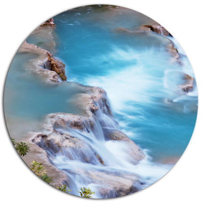 Design Art Stunning Aerial View of Havasu River Oversized Landscape Metal Circle Wall Art