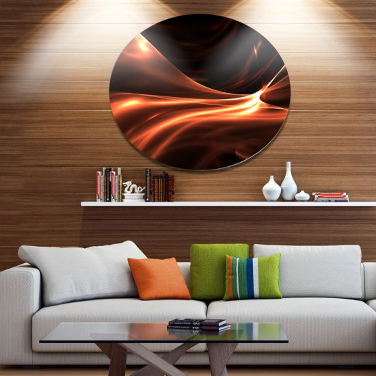 Design Art Brown Abstract Warm Fractal Design Abstract Metal Circle Wall Art