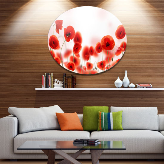 Design Art Poppy Flowers on Pink Background FloralMetal Circle Wall Art