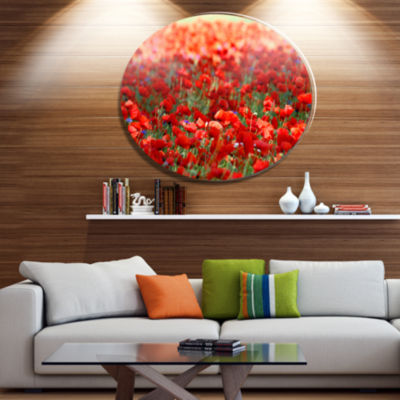 Design Art Thick Red Poppy Flower Field Floral Metal Circle Wall Art
