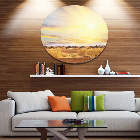 Design Art African Huts under Colorful Sky Extra Large Landscape Metal Circle Wall Art