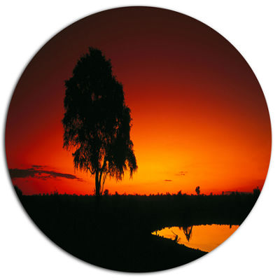 Design Art Sunset View in Tanzania African Landscape Metal Circle Wall Art