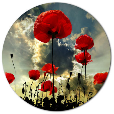 Design Art Poppies on Thunderstorm Background Floral Metal Circle Wall Art