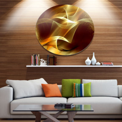 Design Art Light Yellow Abstract Fractal Design Large Abstract Metal Circle Wall Art