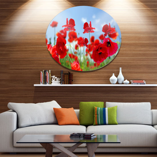 Design Art Close Up of Amazing Poppy Flowers Floral Metal Circle Wall Art