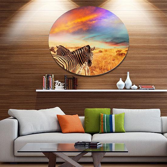 Design Art Zebras in Bush under Colorful Sky African Metal Circle Wall Art