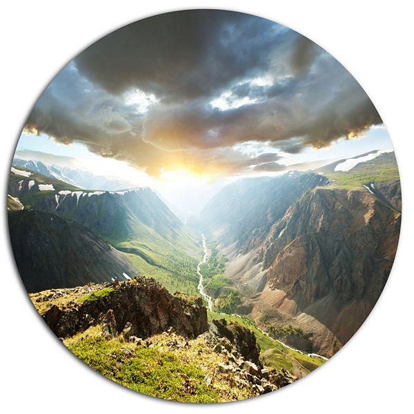 Design Art Stunning View of Sunset in Mountains Oversized Landscape Metal Circle Wall Art