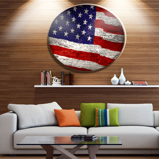 Design Art Large American Flag Watercolor AbstractMetal Artwork