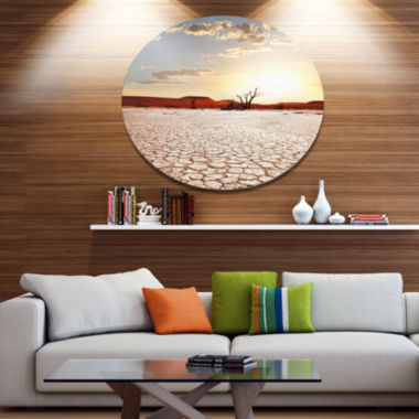 Design Art Namib Desert with Cracked Land Extra Large Landscape Metal Circle Wall Art
