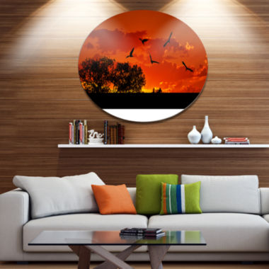 Design Art African Landscape with Warm Sunset African Landscape Metal Circle Wall Art