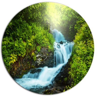 Design Art Blue Creek in Green Rain Forest Oversized Landscape Metal Circle Wall Art
