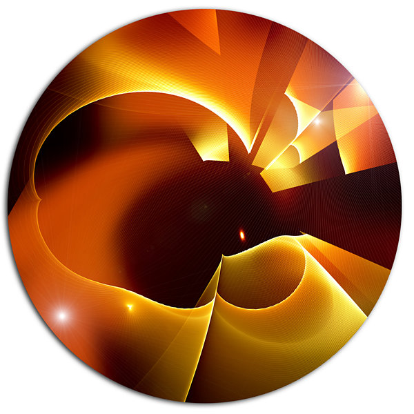Design Art Warm Yellow Red Fractal Design Large Abstract Metal Circle Wall Art