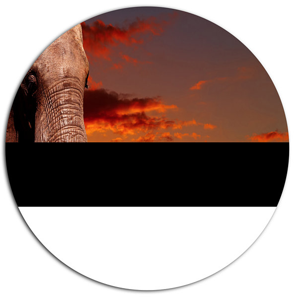 Design Art African Elephant with Africans AfricanMetal Circle Wall Art