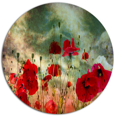 Design Art Wild Red Poppy Flowers in Sky Floral Metal Circle Wall Art