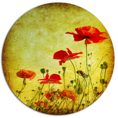 Design Art Poppy Flowers on Grunge Background Floral Metal Circle Wall Art